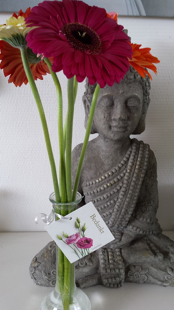 flowers and buddha