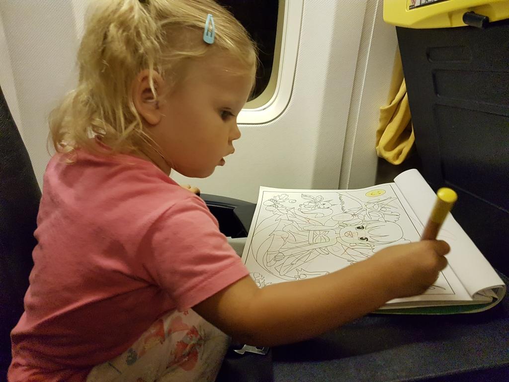 op de terugweg in het vliegtuig